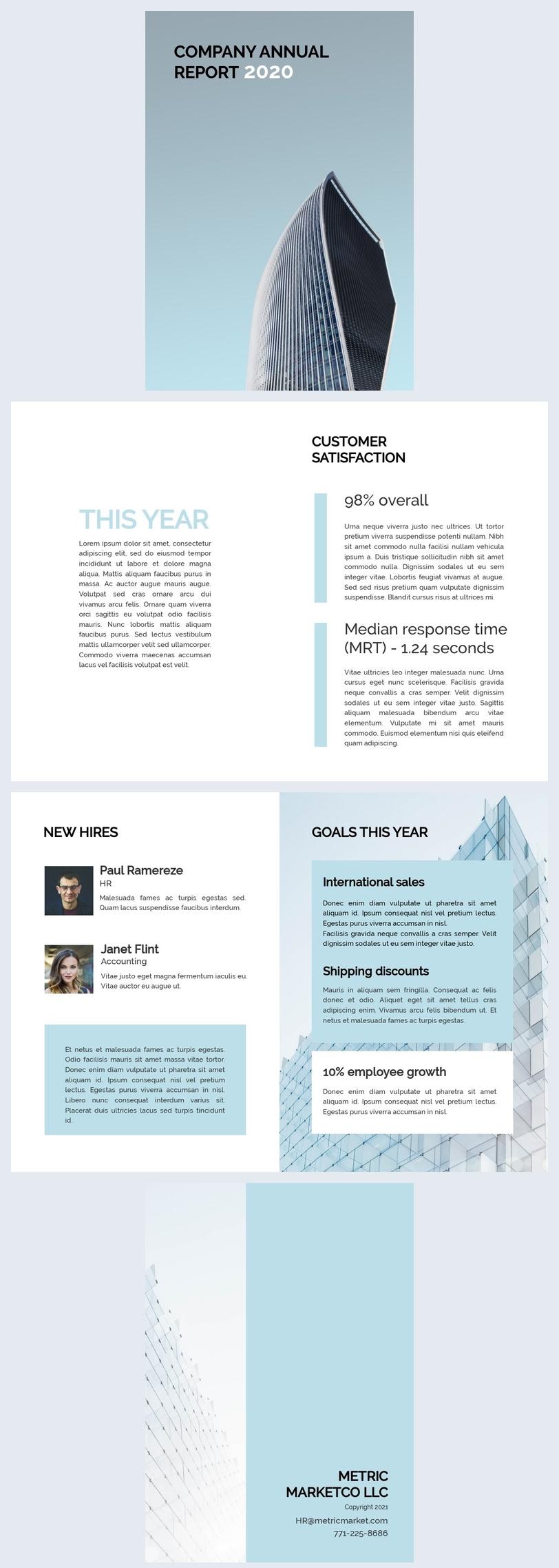 Plantilla para informe anual de la empresa