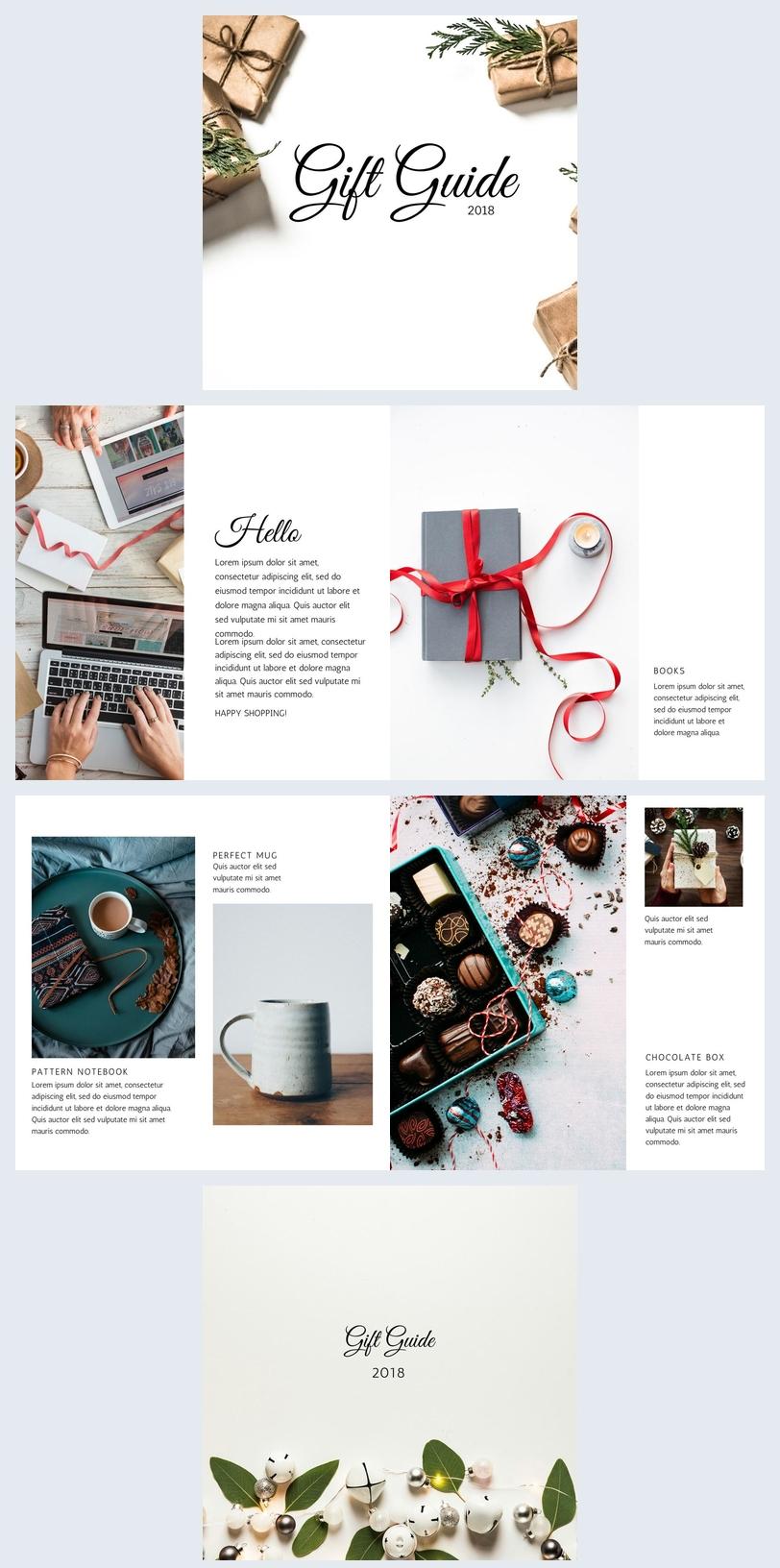 Design de guide cadeaux