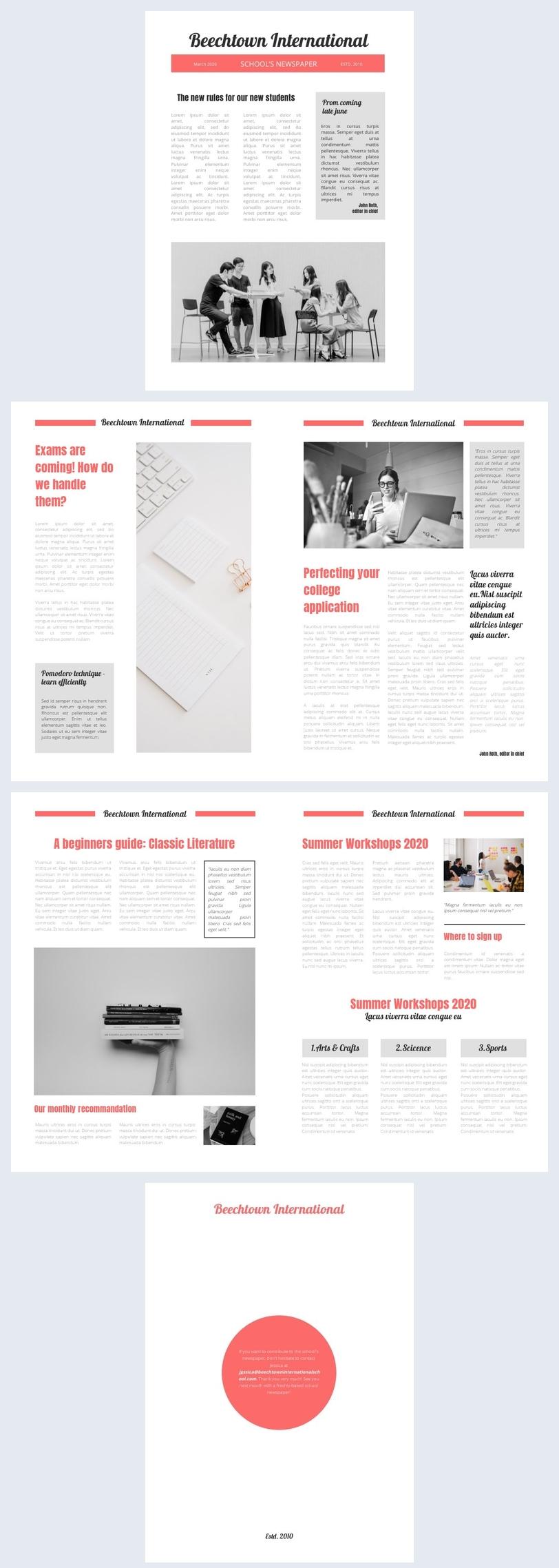 Modèle de journal en ligne pour étudiants