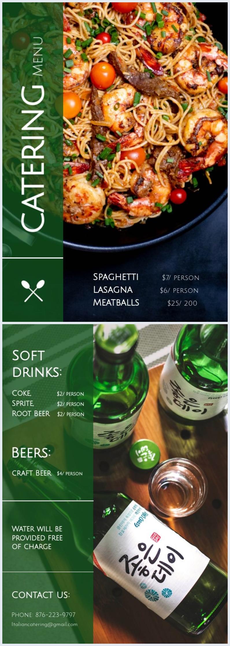 Modelli di grafica per menù del catering