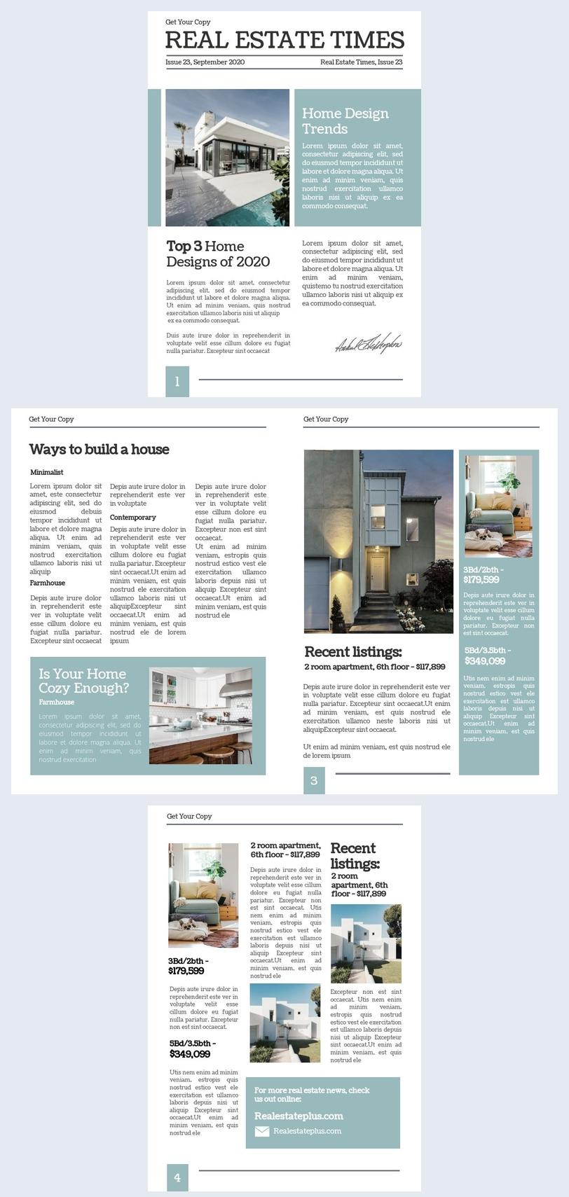 Real Estate Newspaper Template