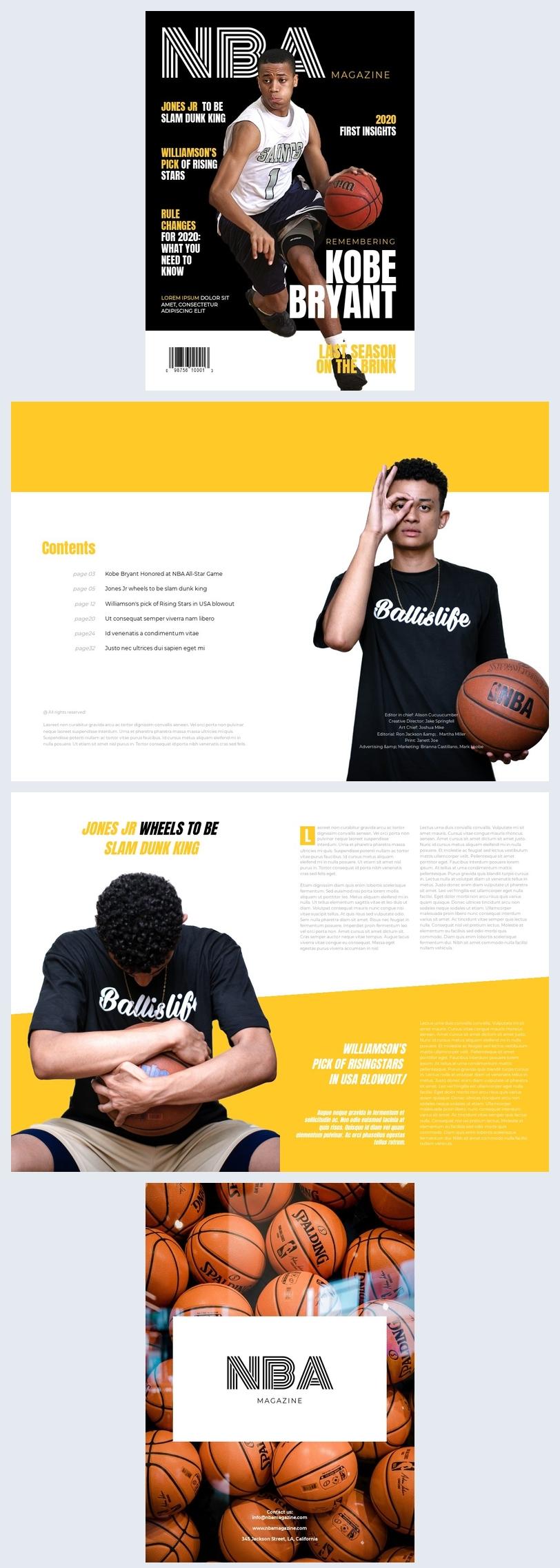 Modello per rivista di basket