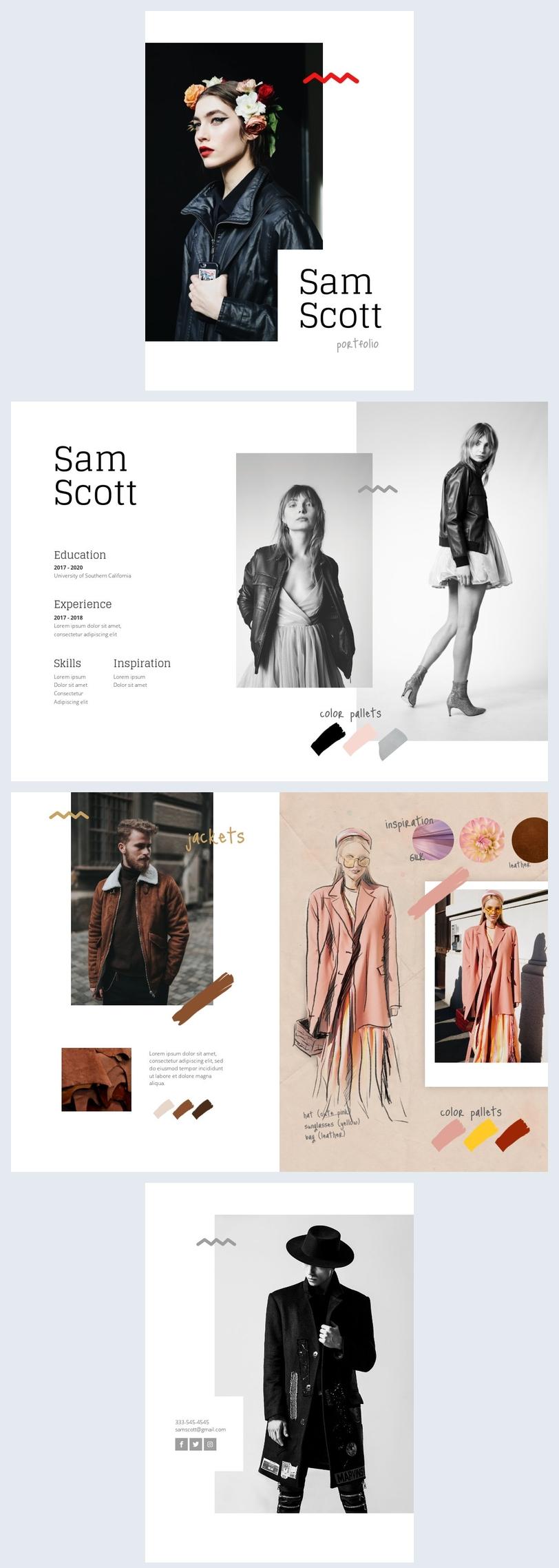 Portfolio per studente di moda