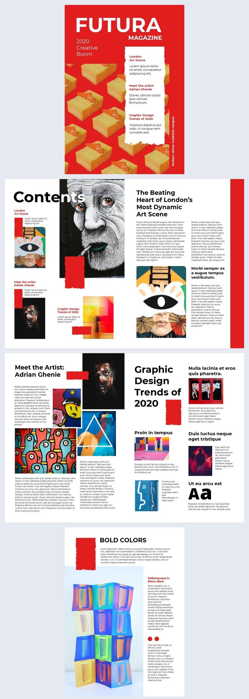 Graphic design magazine layout template