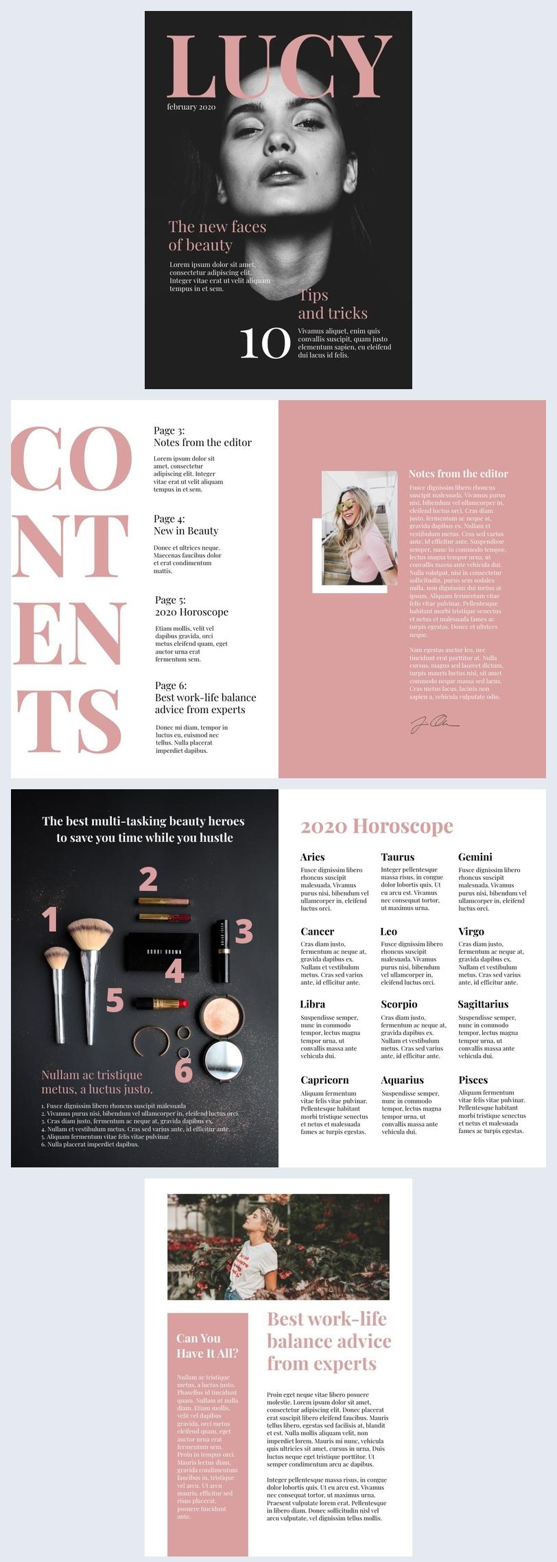 Diseño de revistas de belleza