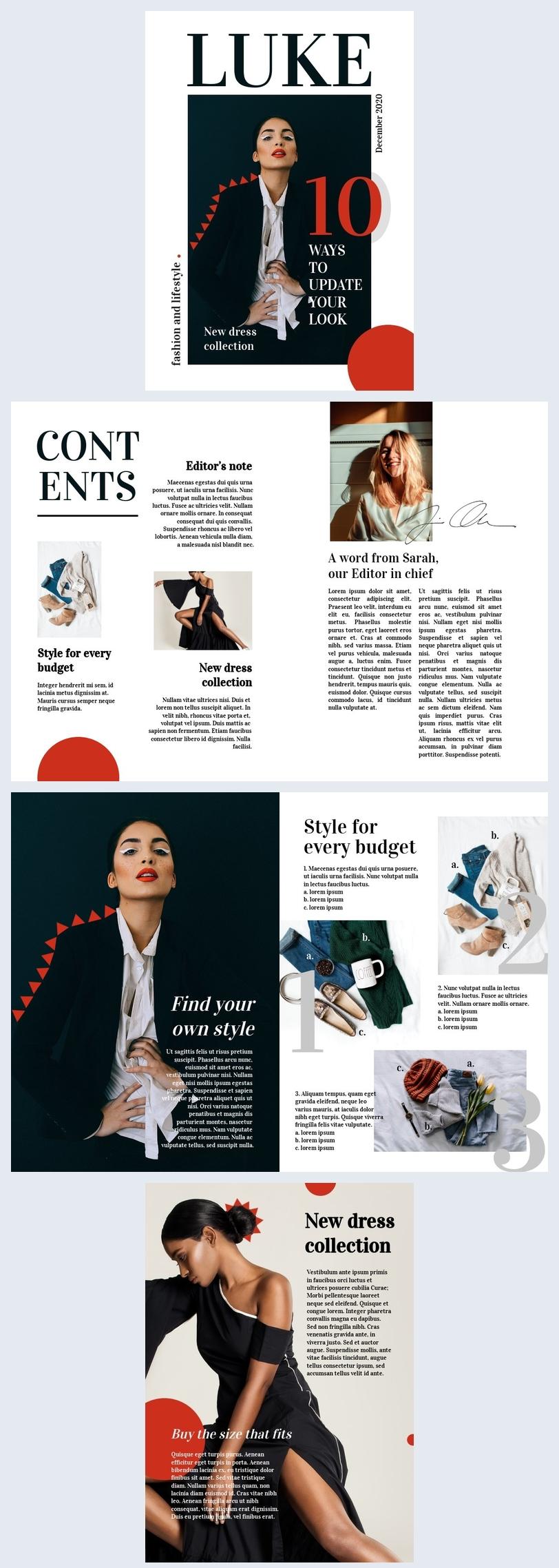 Kreatives Design des Modemagazin-Layouts