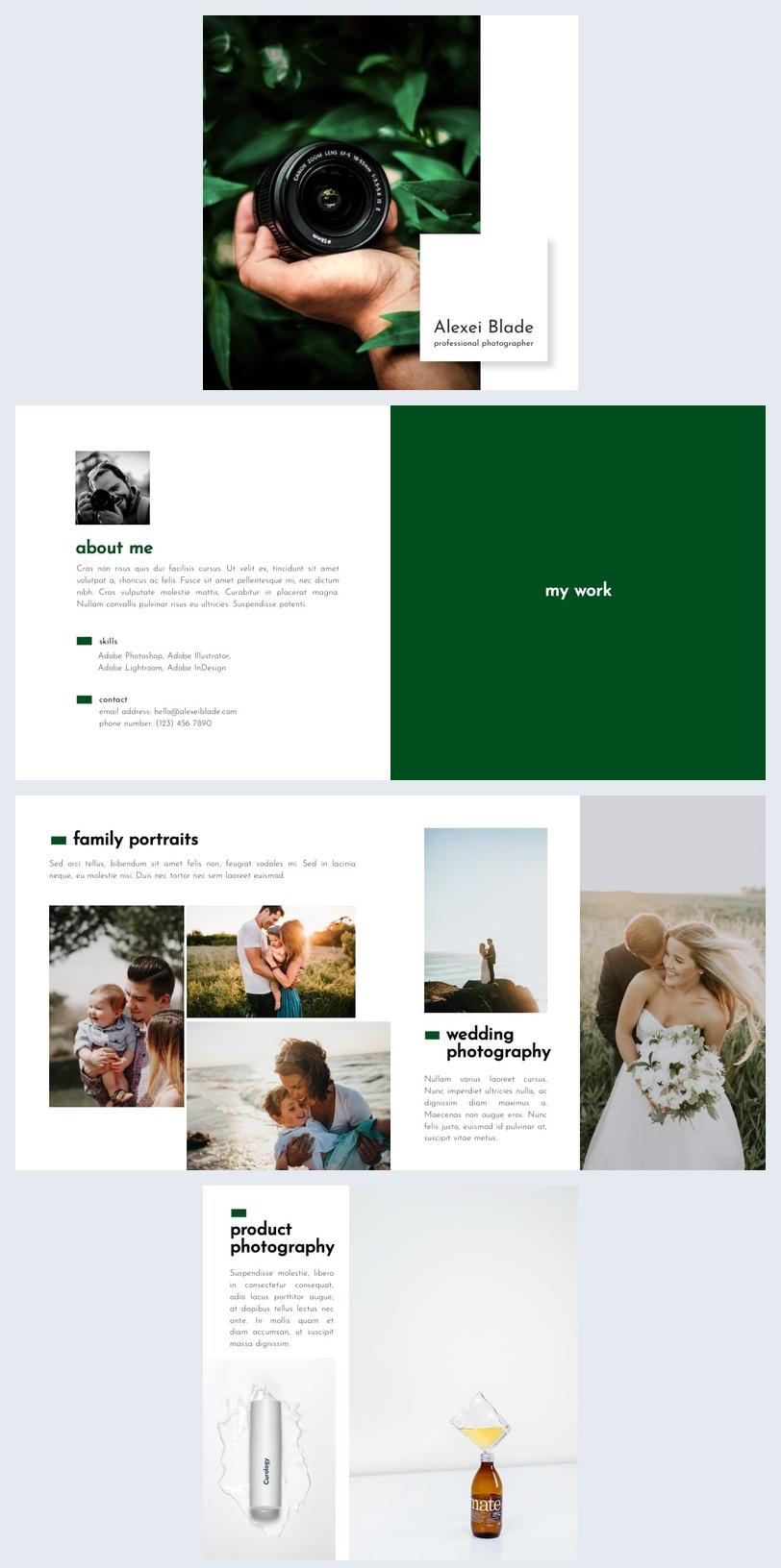 Plantilla para diseño de portafolio de fotografía digital
