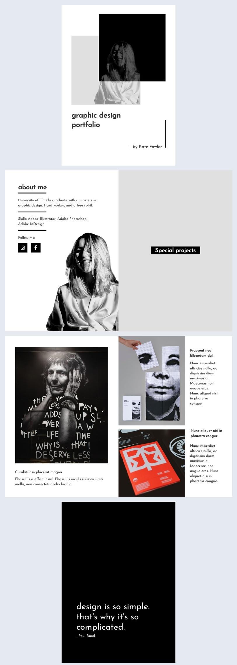 design de portfolio de designer graphique numérique