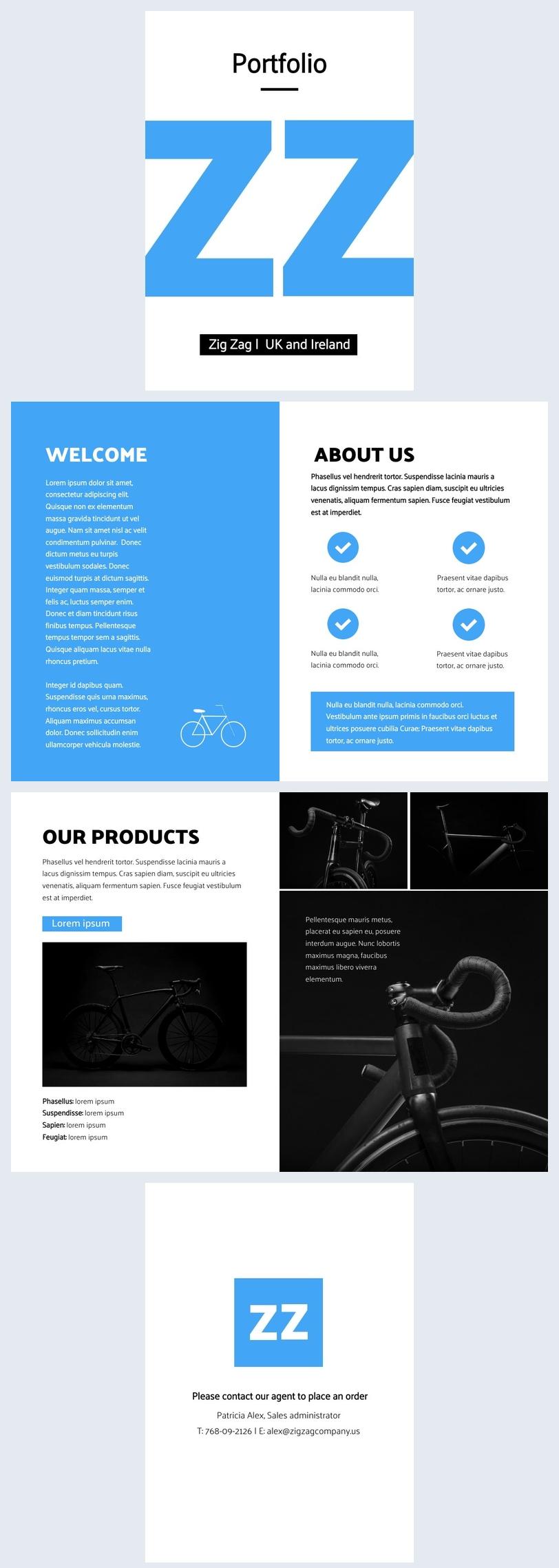 Design de layout de portfólio da empresa