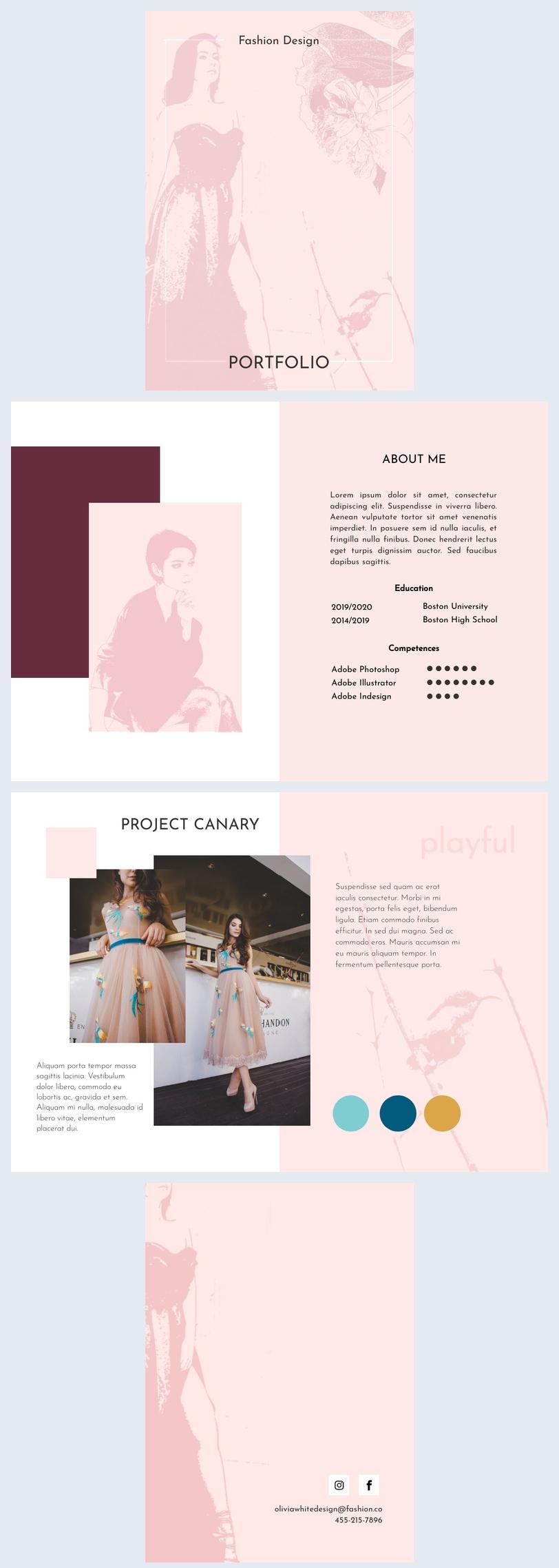 Portfolio of fashion design student layouts
