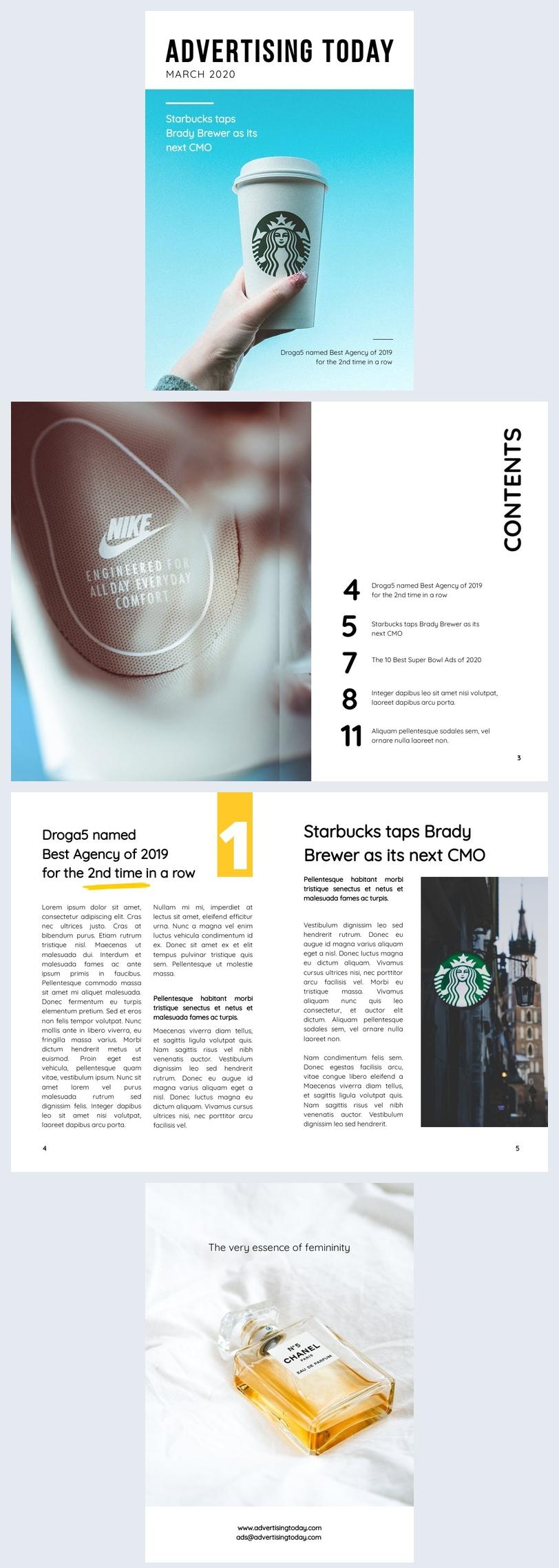 Plantilla para diseño de revista publicitaria