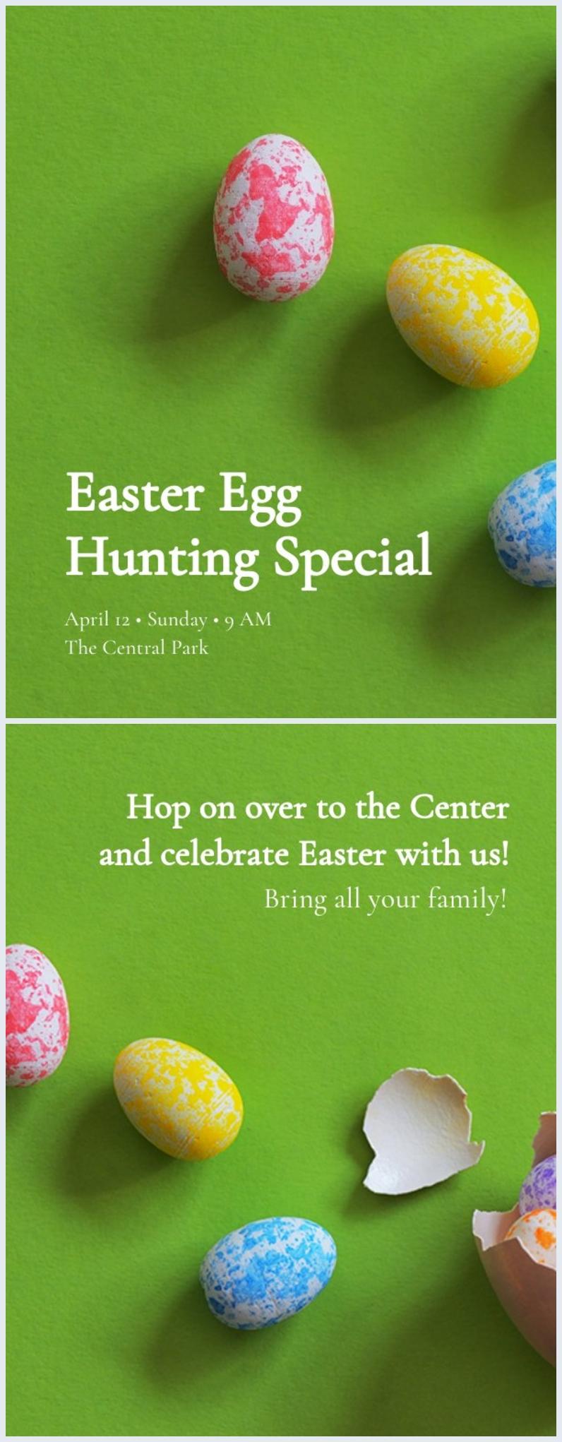 Design de cartão de caça ao ovo de Páscoa