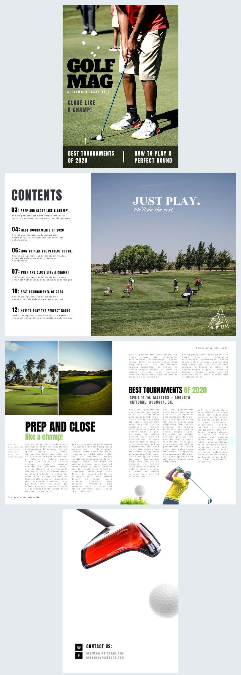 Golf tijdschrift lay-out