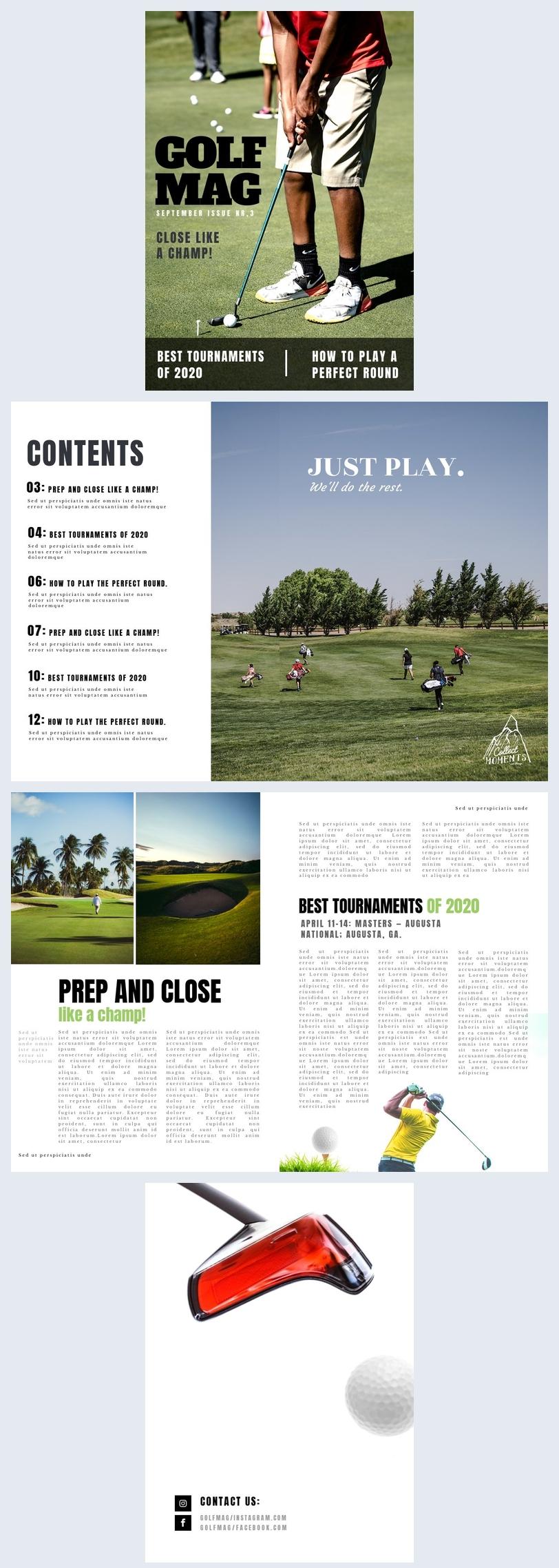 Layout de Revista de Golfe
