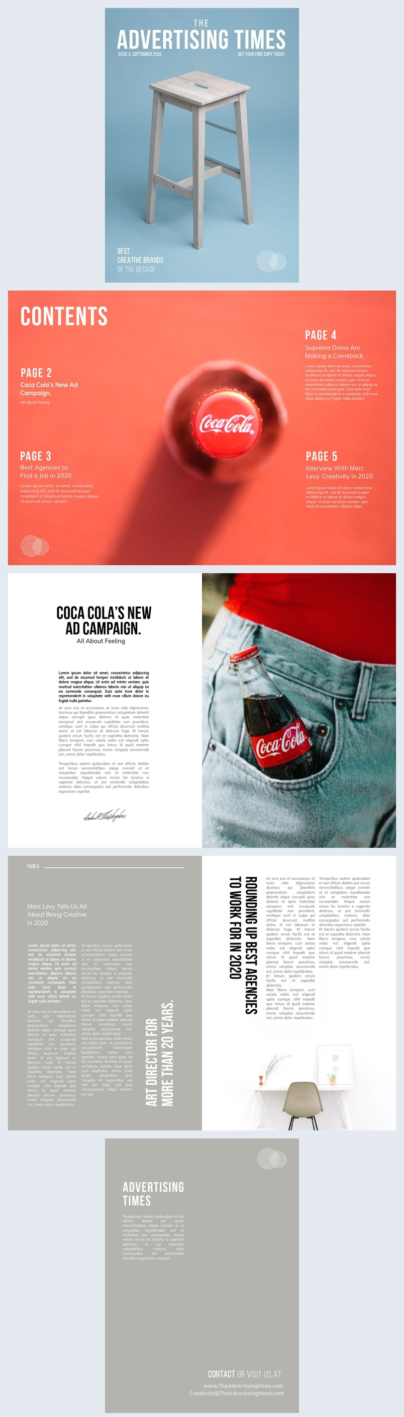 Design de layout de revista de publicidade