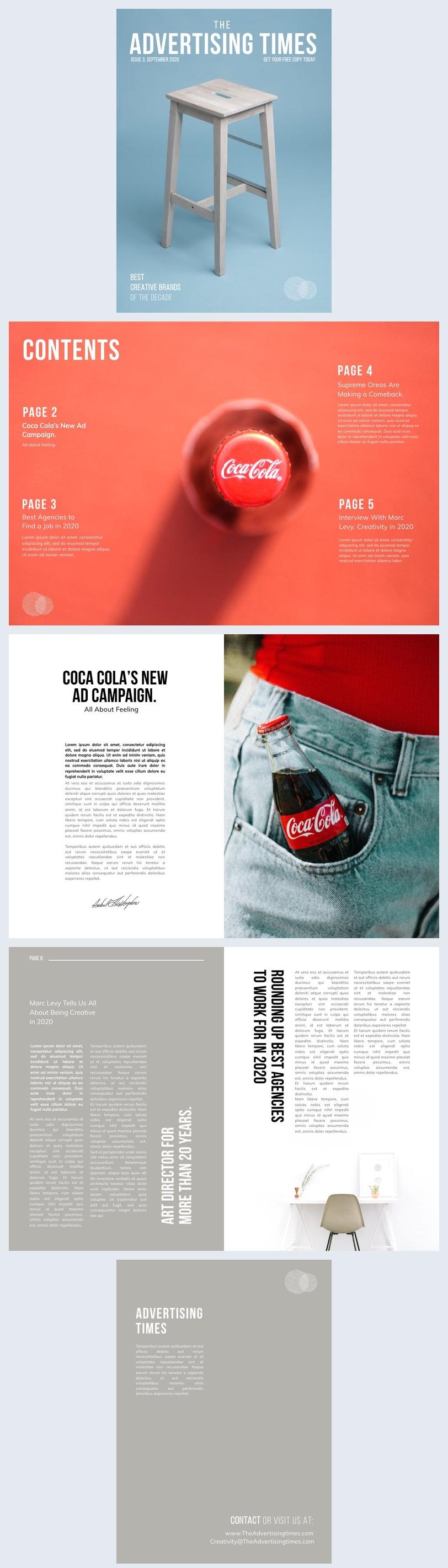 Werbung magazin layout vorlage