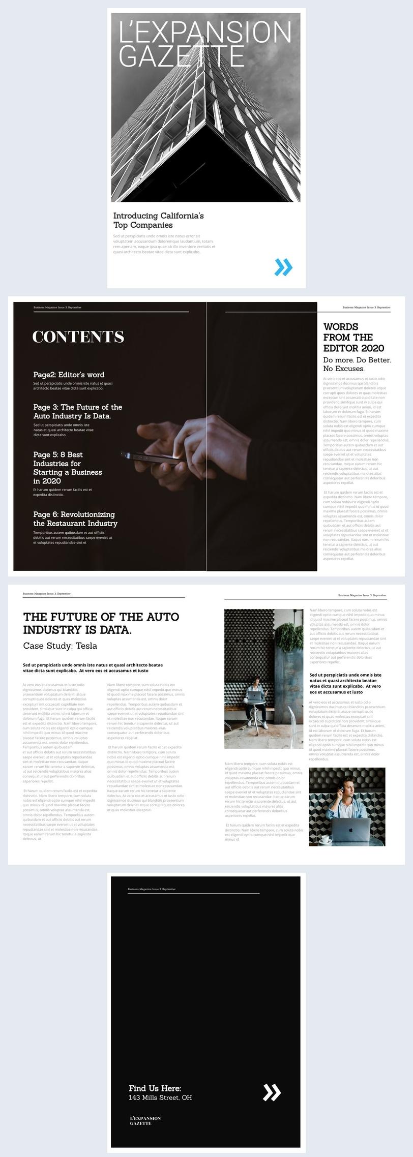 Mise en page de magazine d'entreprise