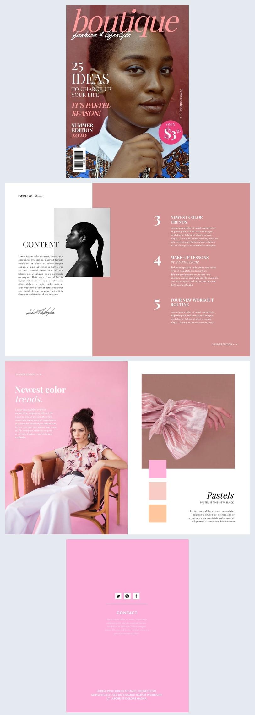 Muestra de diseño para revista de modas