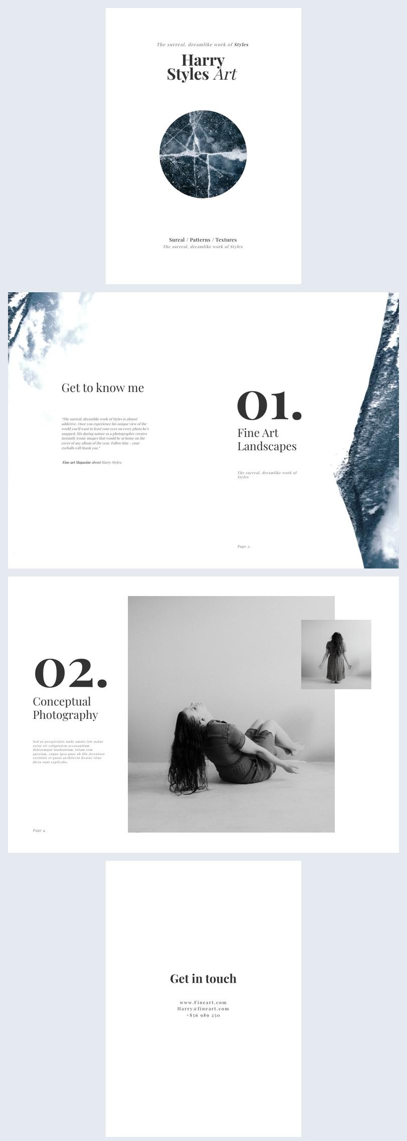 Modèle de portfolio de photographie de beaux-arts