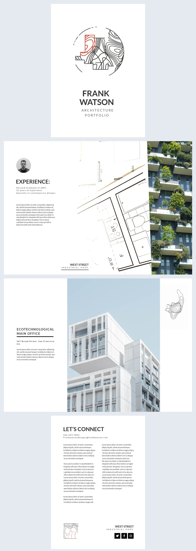 Architectuur portfolio lay-out ontwerp