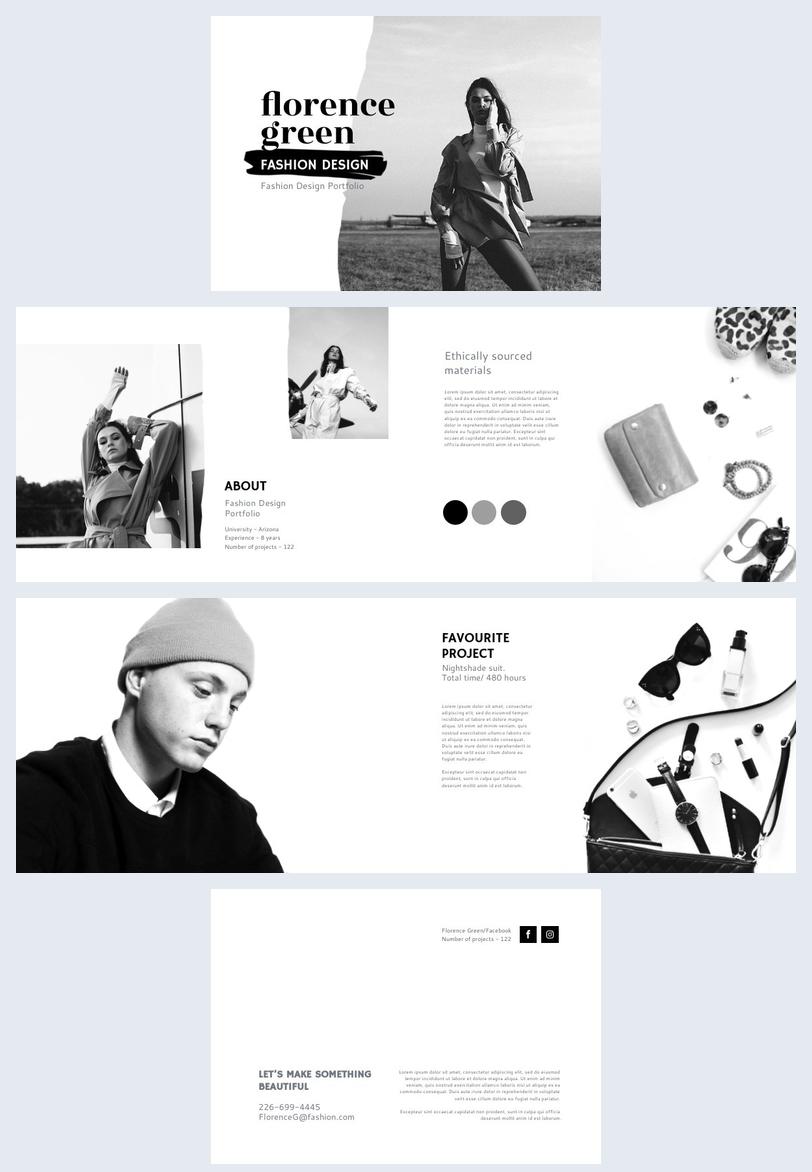 Fashion design portfolio layout