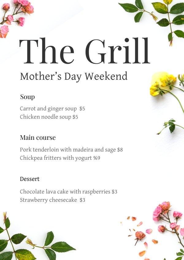 Modelo de menu de restaurante de Dia das Mães