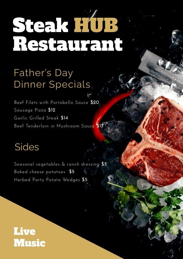 Vaderdag menu ontwerp