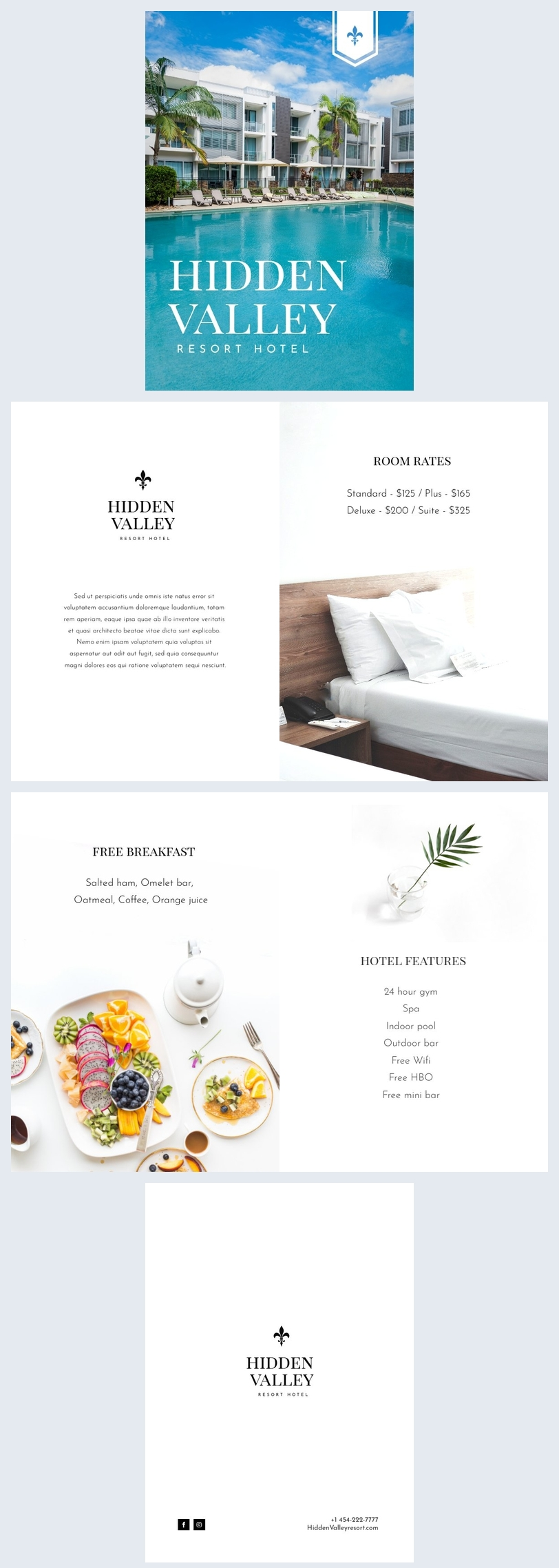design de mise en page de brochure d'hôtel