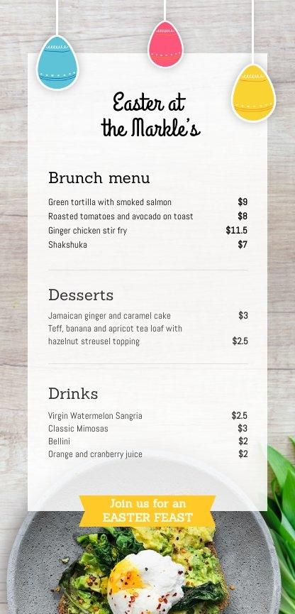 Plantilla y diseño de menú de Pascua para restaurante