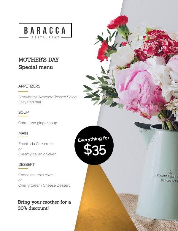 Diseño de plantilla para menú del Día de la madre