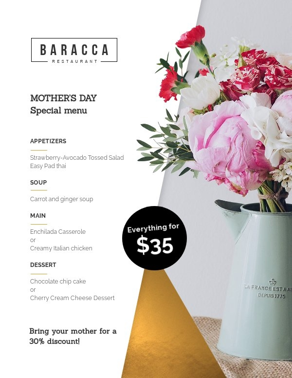 Mother's day menu template design