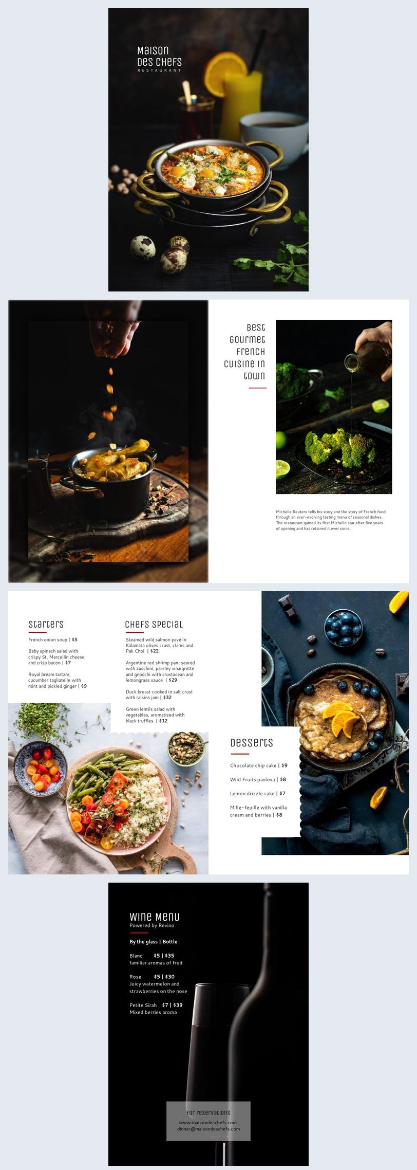 Restaurant brochure menu design