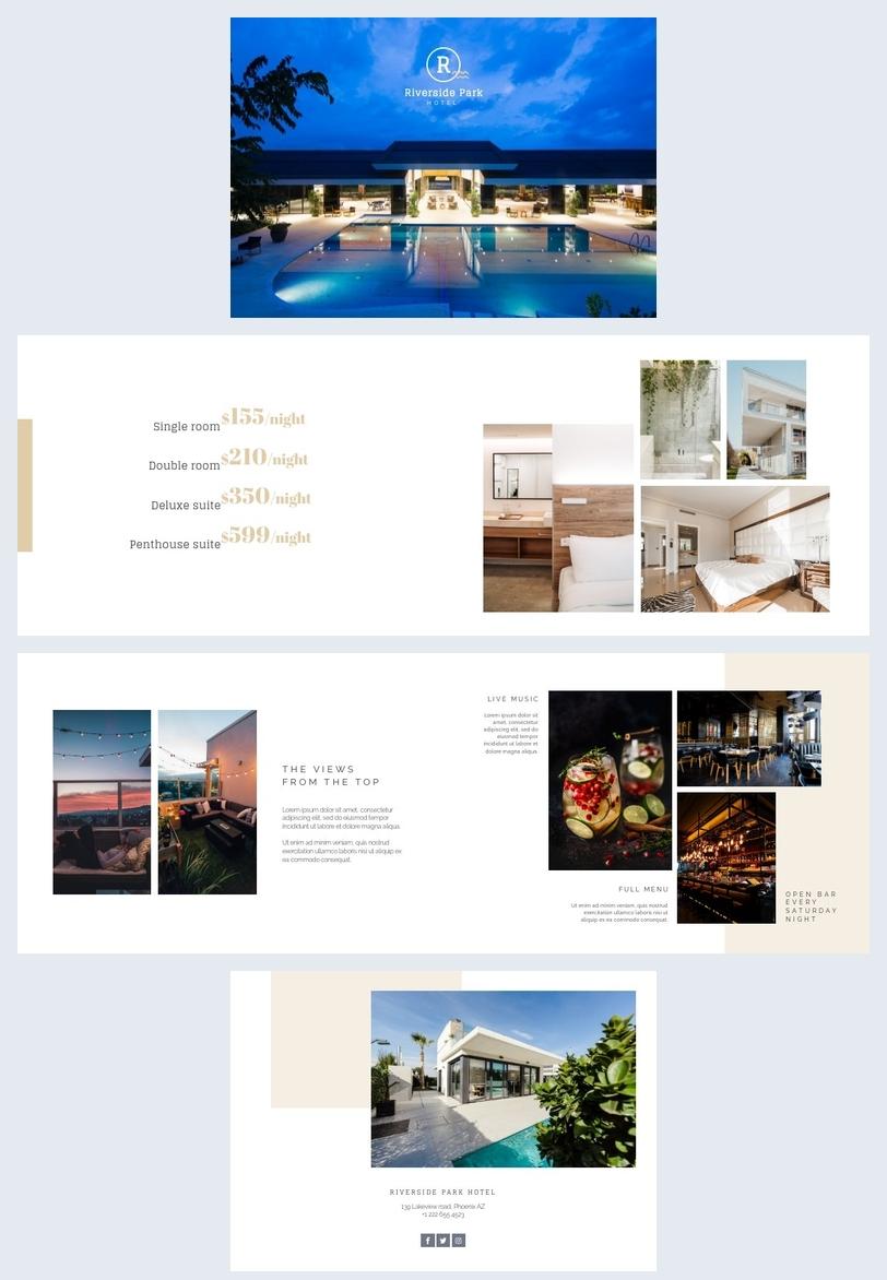 Design de mise en page de brochure d'hôtel simple