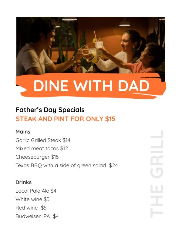Design de menu de plano de refeição do Dia dos Pais