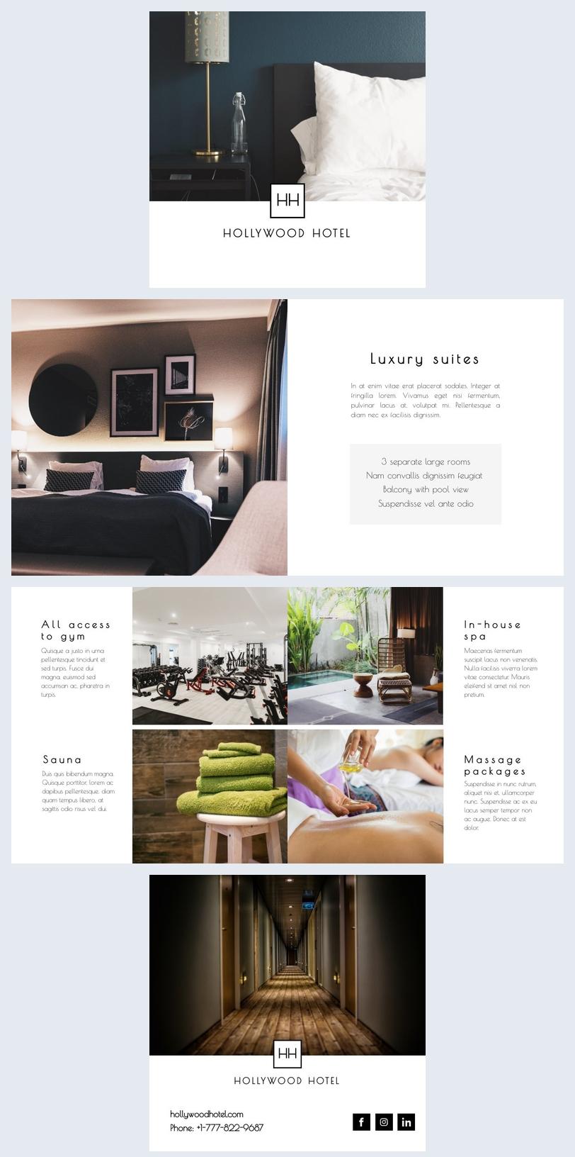 Plantilla genial para folleto de información hotelera