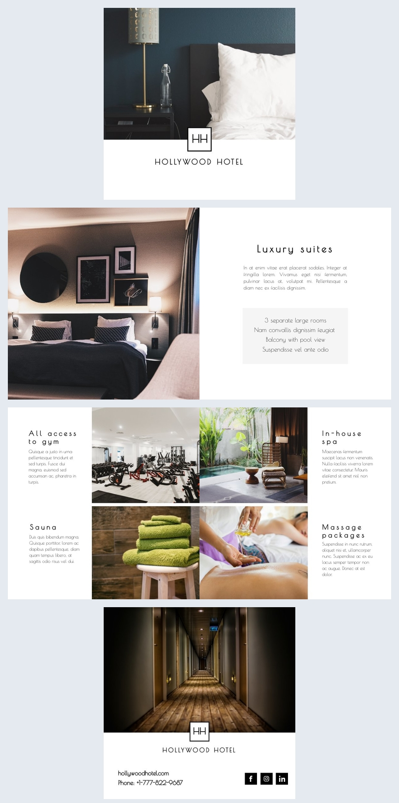 Modelo de brochura de informações do hotel lindo