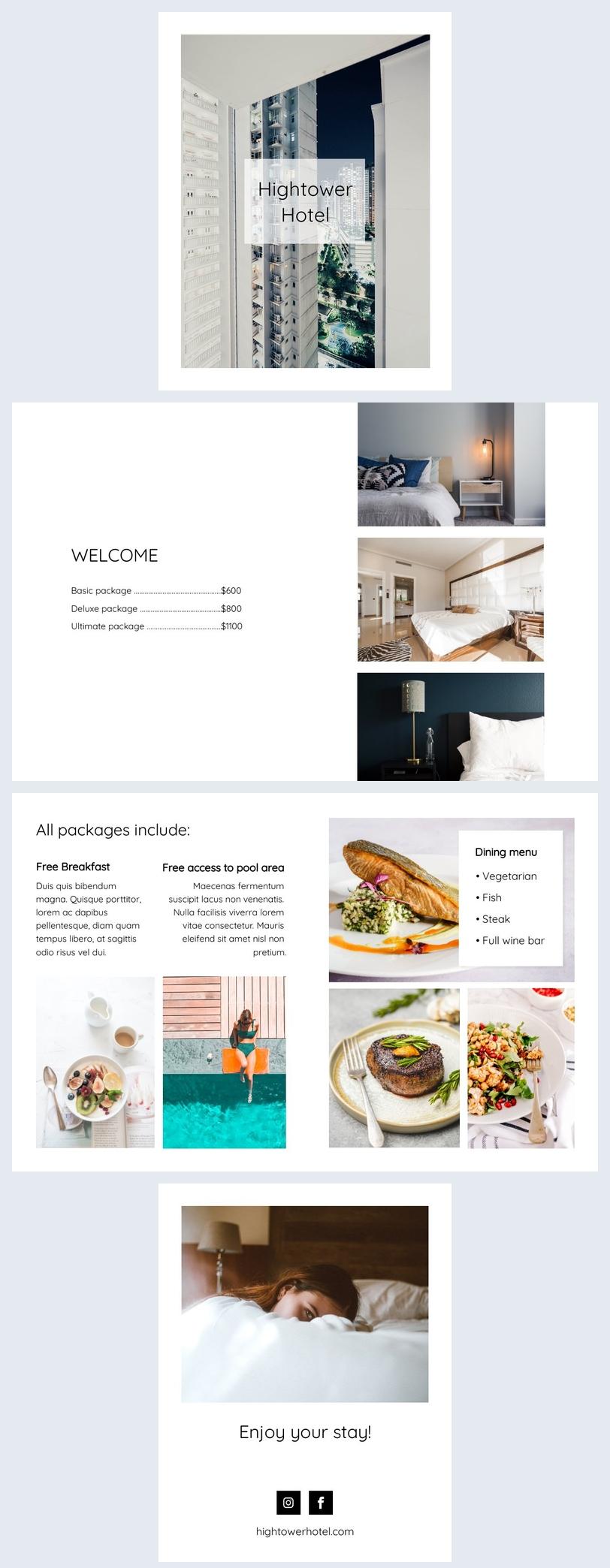 Design de modelo de brochura de hotel de luxo