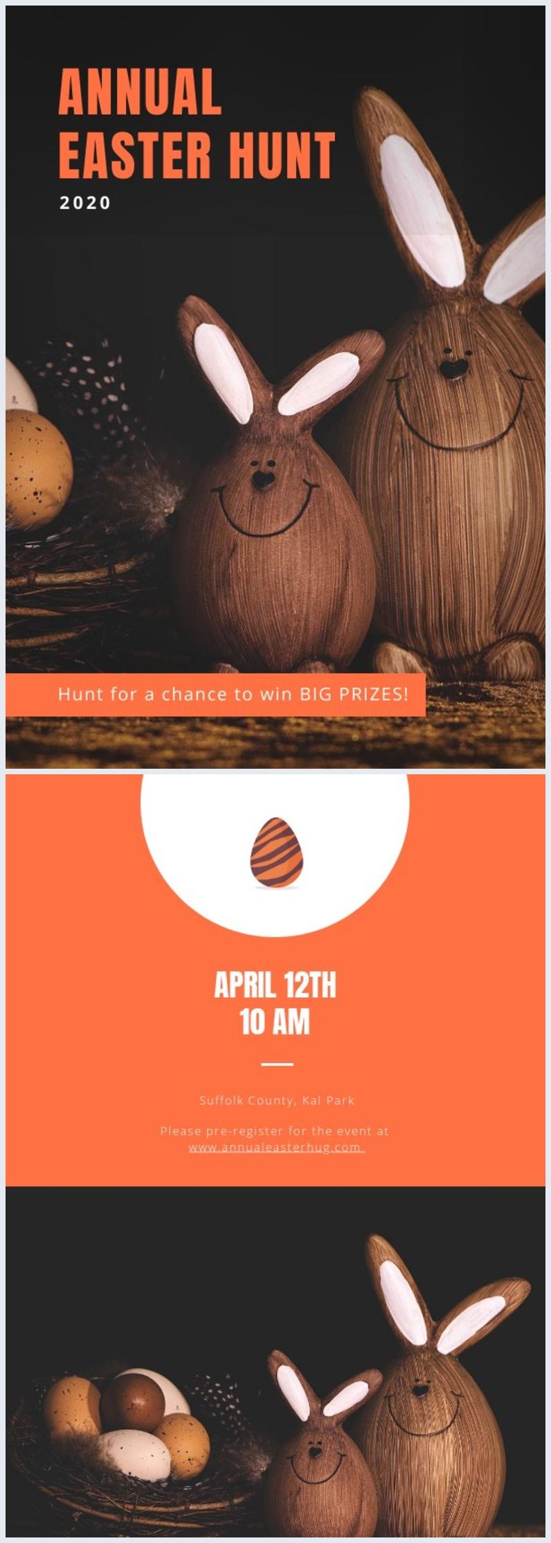 Plantilla de invitación a búsqueda de huevos de pascua 2020