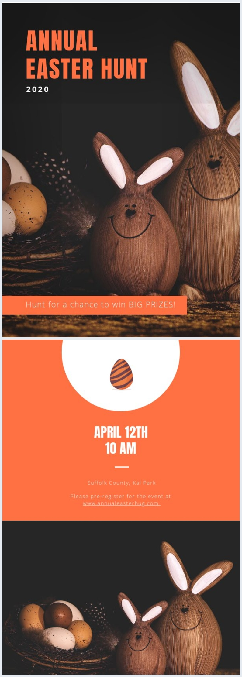 Modèle d'invitation à la chasse aux œufs de Pâques 2020