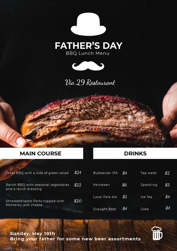 Diseño para menú del Día del padre para restaurante
