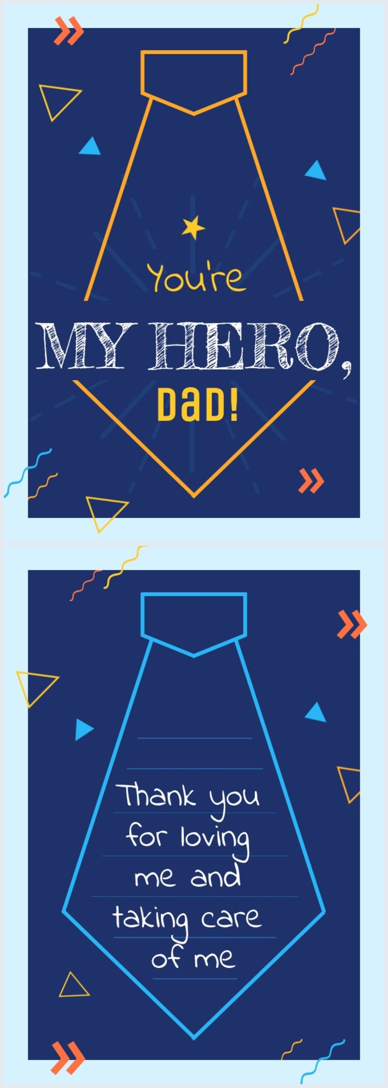 Father's day tie card example