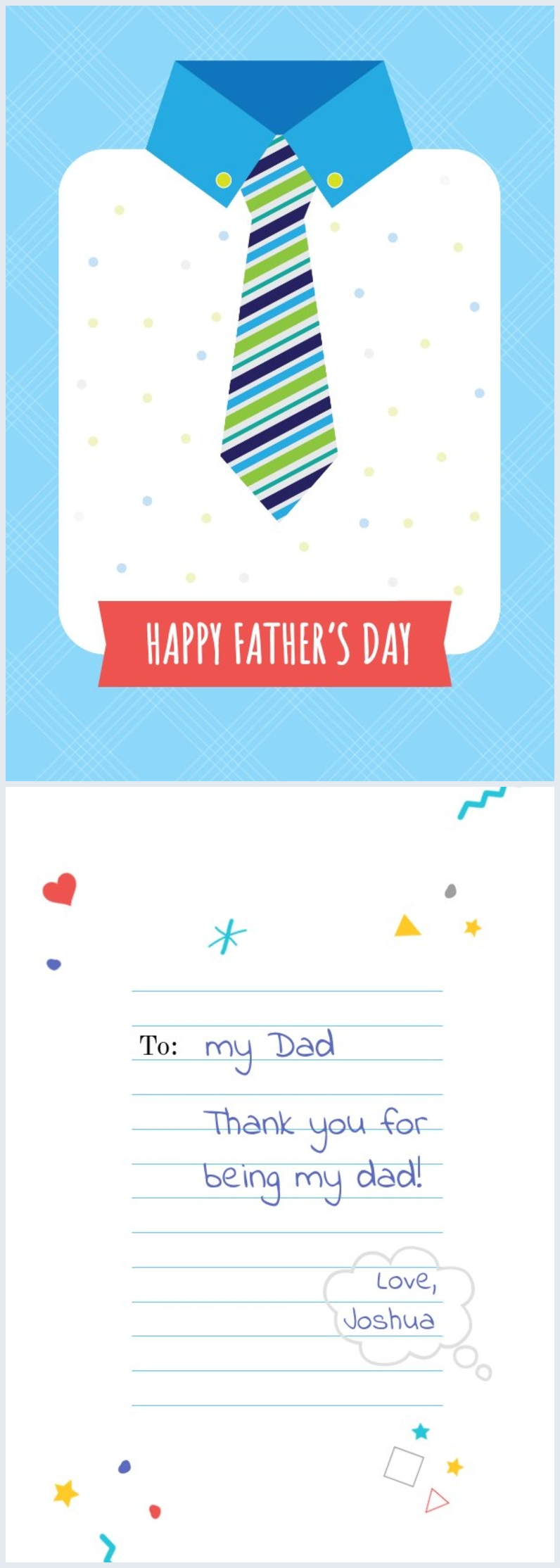 Printable Father's day tie card layout