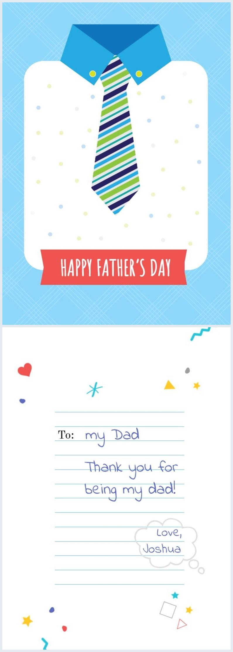 Diseño imprimible para tarjeta tipo corbata del día del padre