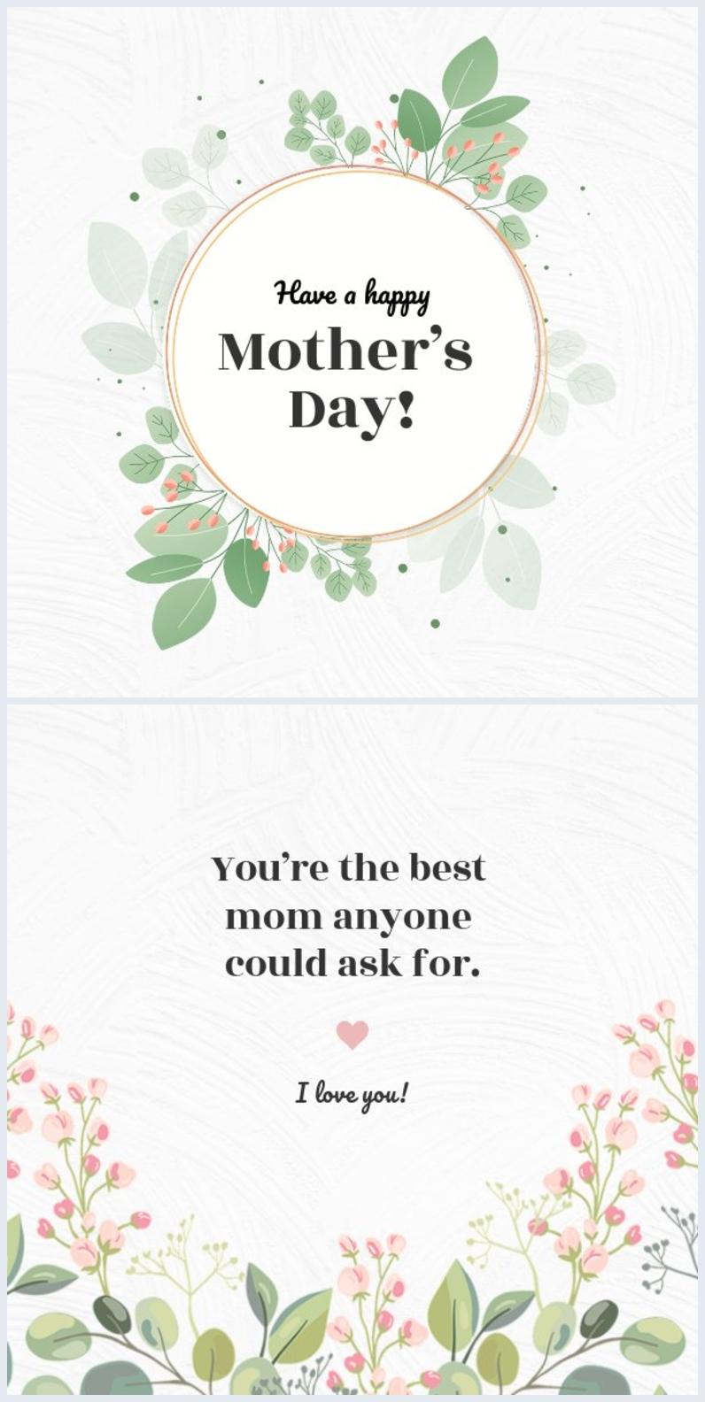 Modèle de carte élégante pour la fête des mères