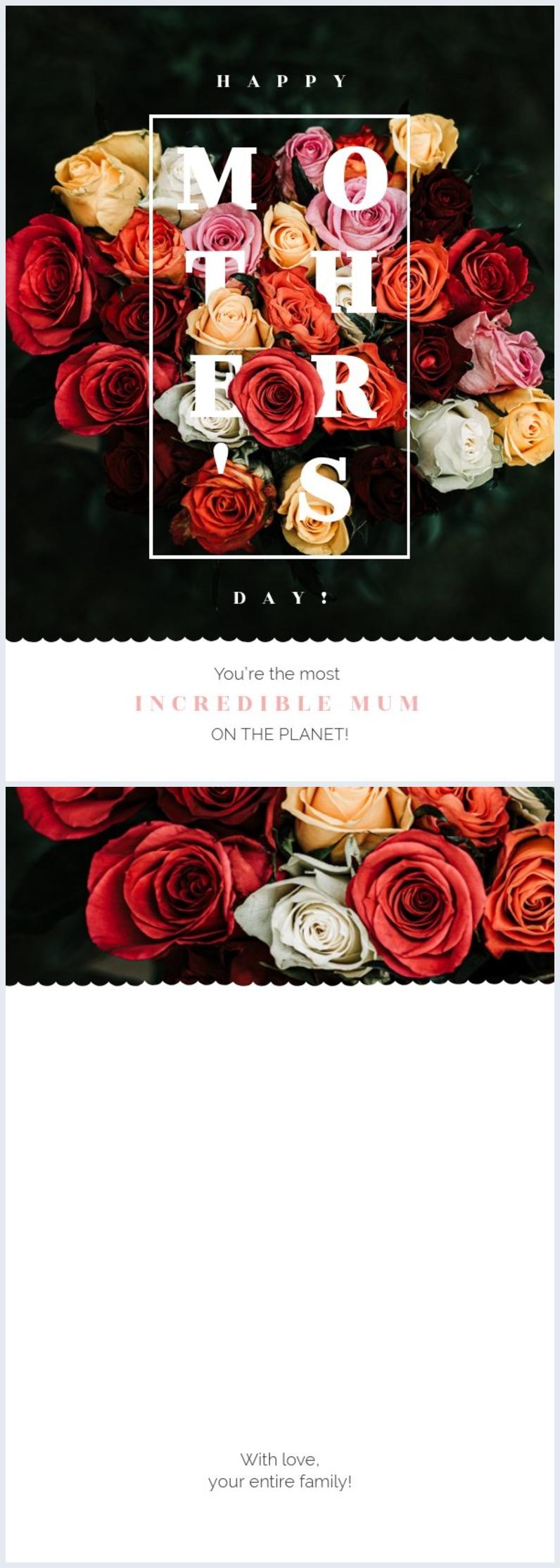Ejemplo de diseño colorido y floral para tarjeta del Día de la madre