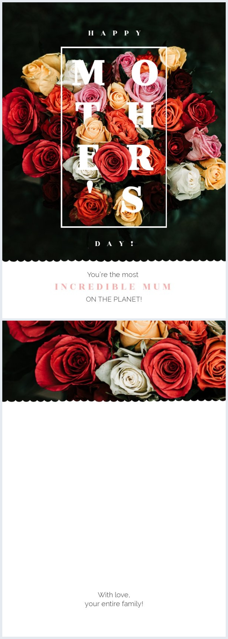 Colorful floral Mother's Day card example layout