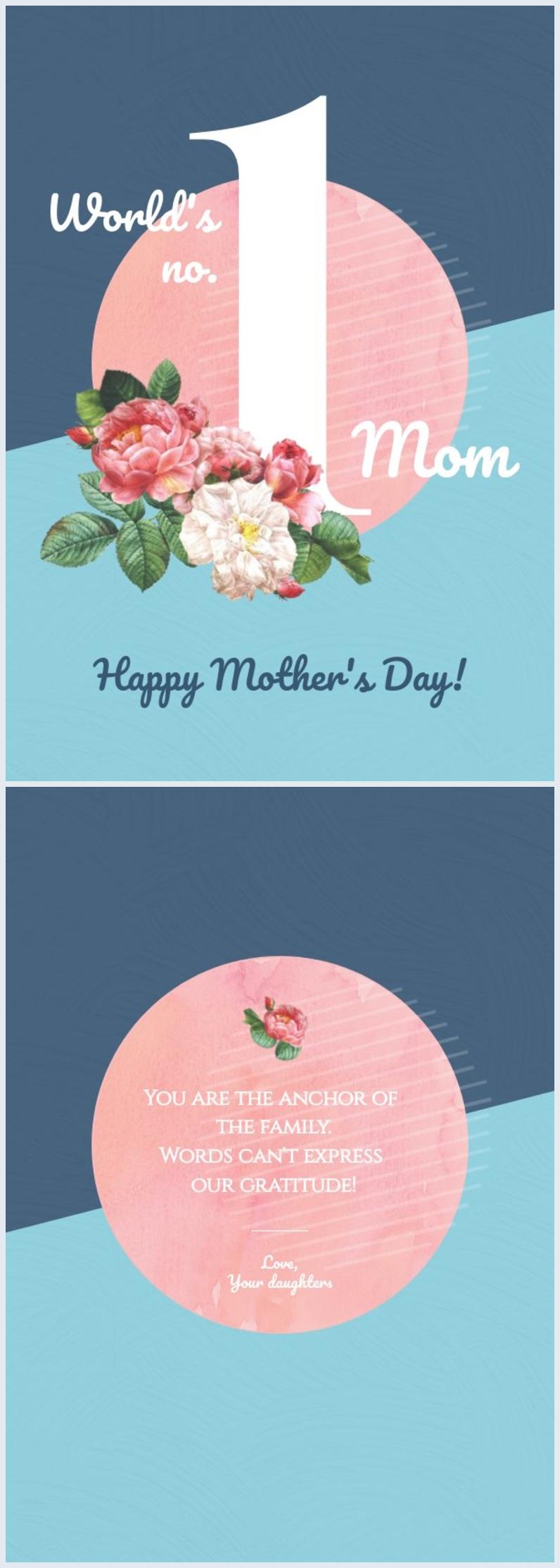 Esempio di layout creativo per biglietto della Festa della mamma