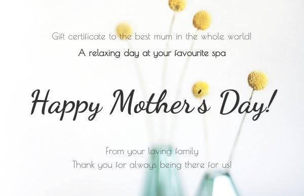 Exemplo de modelo de certificado de presente para o Dia das Mães