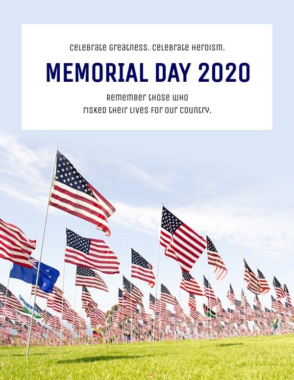 Grafica personalizzabile per volantino del Memorial Day