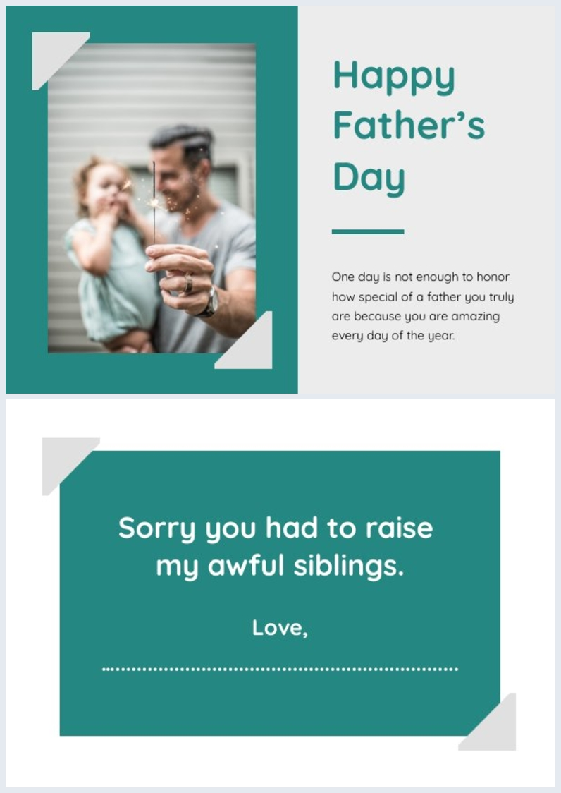 Funny printable Father's Day card example